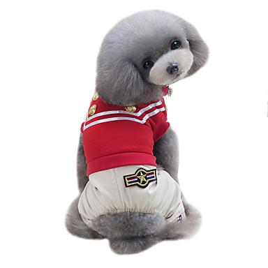 Pies T-shirt Kombinezon Ubrania dla psów Klasyczny Modny Sportowe W stylu brytyjskim Black Czerwony Kostium Dla zwierząt domowych