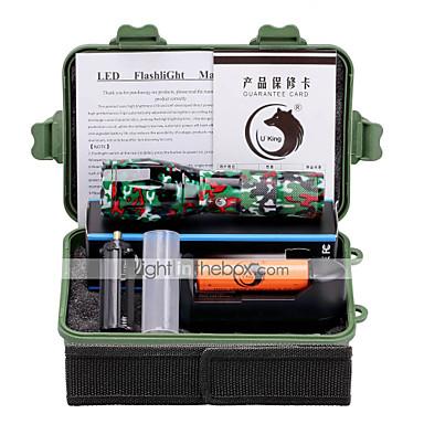 U'King LED taskulamput LED 2000 lm 5 Tila Cree XM-L T6 Akulla ja laturilla Zoomable Säädettävä fokus Telttailu/Retkely/Luolailu