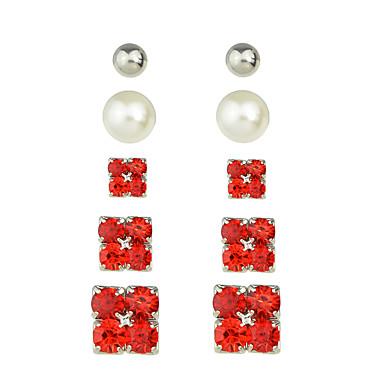 Κουμπωτά Σκουλαρίκια Κοσμήματα Γυναικεία Causal Μαργαριτάρι Κράμα 1set Κόκκινο