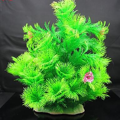 Decorațiune pentru Acvariu Plantă Apă Ne-Toxic & Fără Gust Plastic Verde