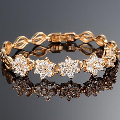 Βραχιόλια με Αλυσίδα & Κούμπωμα Μοντέρνα Ζιρκονίτης Χαλκός Επιχρυσωμένο Star Shape Χρυσό Κοσμήματα ΓιαΠάρτι Ειδική Περίσταση Γενέθλια