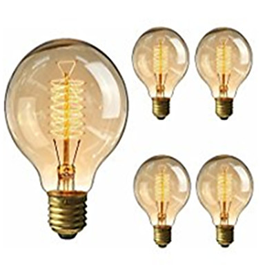 محفظة 5pcs G95 العتيقة الرجعية المصابيح اديسون خمر E27 المصابيح المتوهجة 40W ضوء لمبة زينة خيوط ضوء اديسون 220-240V