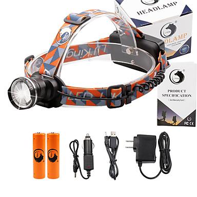 U'King Φακοί Κεφαλιού Μπροστινό φως 2000 lm 3 Τρόπος Cree XM-L T6 με μπαταρίες και φορτιστές Zoomable Ρυθμιζόμενη Εστίαση Μικρό Μέγεθος