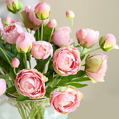 1 gałąź (4 głowy) wielokolorowy europejski styl małej piwonii sztuczne kwiaty