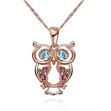 Naisten Ihana Owl Kristalli Cubic Zirkonia Ruusukulta Kristalli Ruusukulta-päällystetty Riipus-kaulakorut Kaulaketjut  -  Yksilöllinen