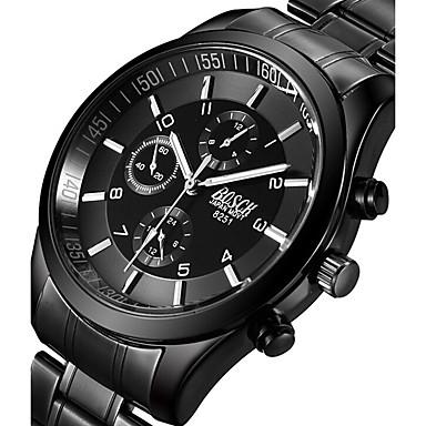 Недорогие Часы на металлическом ремешке-BOSCK Муж. Армейские часы Наручные часы Авиационные часы Кварцевый Нержавеющая сталь Черный 50 m Светящийся Фосфоресцирующий Cool Аналоговый Кулоны На каждый день Мода - Черный Серый Розовый
