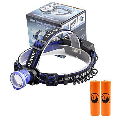 U'King Φακοί Κεφαλιού Μπροστινό φως LED 2000 lm 3 Τρόπος Cree XM-L T6 με μπαταρίες Zoomable Συναγερμός Ρυθμιζόμενη Εστίαση Μικρό Μέγεθος