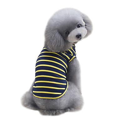 كلب T-skjorte سترة ملابس الكلاب جميل موضة الرياضات مخطط أصفر أحمر أخضر كوستيوم للحيوانات الأليفة