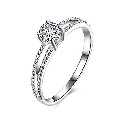 Damskie Srebro standardowe Cyrkon Pierscionek - Modny Silver Pierścień Na Codzienny Casual
