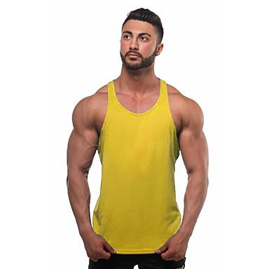 abordables Ropa de Moda Hombres-Hombre Activo Deportes / Playa Básico - Algodón Tank Tops Un Color Gris L / Sin Mangas / Verano