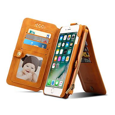 غطاء من أجل iPhone 7 Plus iPhone 7 Apple حامل البطاقات محفظة مع حامل قلب غطاء كامل للجسم لون الصلبة قاسي جلد أصلي إلى iPhone 7 Plus