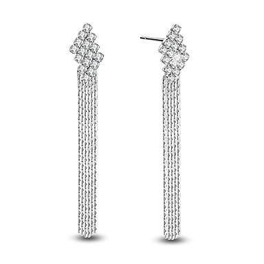 Cubic Zirconia Κρεμαστά Σκουλαρίκια Κοσμήματα Γάμου Πάρτι Καθημερινά Causal Ζιρκονίτης Επιμεταλλωμένο με Πλατίνα 1 ζευγάρι Ασημί