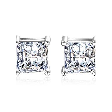 Pentru femei Diamant sintetic / Zirconiu Cubic Plastic / Zirconiu Cubic 1 Cercei Stud / Cercei Picătură - Clasic / Elegant Argintiu Pătrat