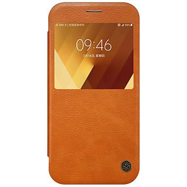 Etui Käyttötarkoitus Samsung Galaxy A5(2017) A3(2017) Ikkunalla Flip Suojakuori Yhtenäinen väri Kova PU-nahka varten A3 (2017) A5 (2017)