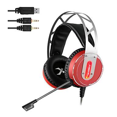 XIBERIA V12 Kulak Üzerinden Saç Bandı Kablolu Kulaklıklar Dinamik Aluminum Alloy Oyunlar Kulaklık Ses Kontrollü Mikrofon ile Gürültü