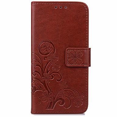 Maska Pentru Altele BQ Titluar Card Portofel Cu Stand Întoarce Model Embosat Carcasă Telefon Culoare solidă Floare Greu PU piele pentru