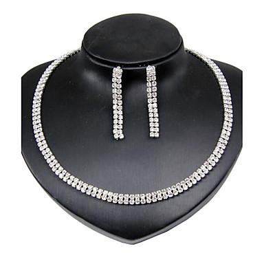 Νυφικό κόσμημα σετ απομίμηση διαμαντιών Κυκλικό Κράμα Round Shape Λευκό 1 Κολιέ 1 Ζευγάρι σκουλαρίκια ΓιαΓάμου Πάρτι Ειδική Περίσταση