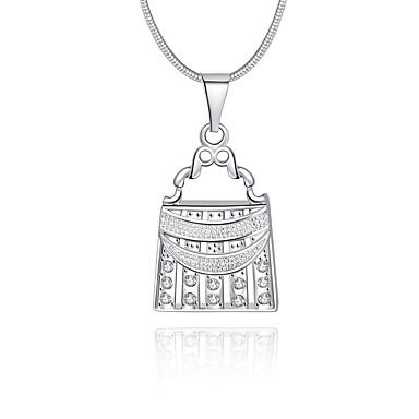 Naisten Geometric Shape Ylellisyys Uniikki Logo Roikkuva Heart Riipus-kaulakorut Kristalli Sterling-hopea Kristalli Timanttijäljitelmä