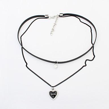 للمرأة قلادات ضيقة Heart Shape حجر الراين سبيكة طبقة مزدوجة موضة euramerican في مجوهرات من أجل حزب يوميا