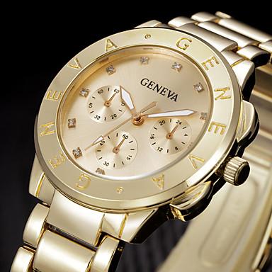 Kadın's Moda Saat Bilek Saati Quartz Taşlı Paslanmaz Çelik Bant Havalı Gümüş Altın Rengi