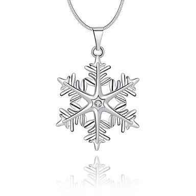 Naisten Geometric Shape Lumihiutale Ylellisyys Uniikki Logo Roikkuva Perus Riipus-kaulakorut Kristalli Sterling-hopea Kristalli