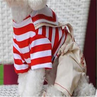 كلب حللا ملابس الكلاب كاجوال/يومي مخطط أحمر أزرق كوستيوم للحيوانات الأليفة