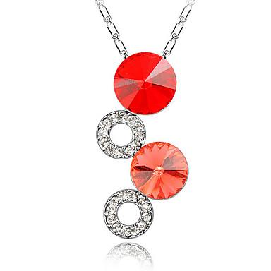 Kadın's Uçlu Kolyeler Kristal Round Shape Dairesel Tasarım Mücevher Uyumluluk