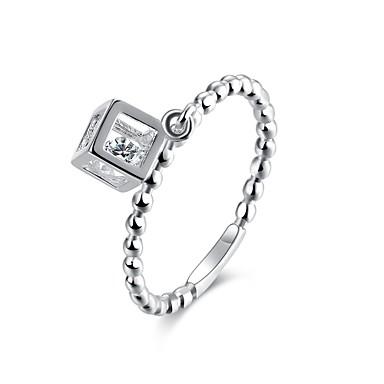 Γυναικεία Δαχτυλίδι Cubic Zirconia Ασημί Ζιρκονίτης Χαλκός Επάργυρο Κυκλικό Εξατομικευόμενο Κυκλικό Μοναδικό Βίντατζ Τεχνητό διαμάντι