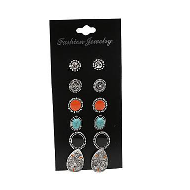 Kadın's Vidali Küpeler - Vintage Euramerican Moda Gümüş Geometric Shape Gözyaşı Küpeler Uyumluluk Parti Günlük