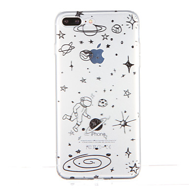 Pouzdro Uyumluluk Apple iPhone 7 Plus iPhone 7 Şeffaf Temalı Arka Kapak Karton Yumuşak TPU için iPhone 7 Plus iPhone 7 iPhone 6s Plus