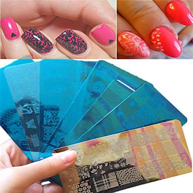1buc dulce frumos design de dantelă ștanțare unghiei din oțel inoxidabil ștanțare placă de design colorat șabloane manichiura frumusete