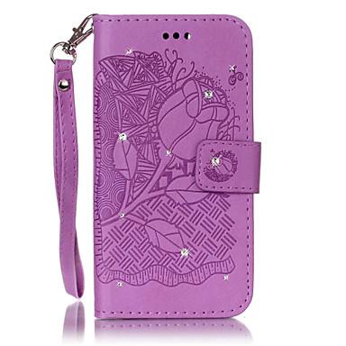 غطاء من أجل Samsung Galaxy S7 edge S7 حامل البطاقات حجر كريم مع حامل قلب غطاء كامل للجسم زهور قاسي جلد PU إلى S7 edge S7 S6 edge S6 S5