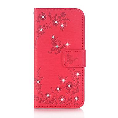 Kılıf Na Samsung Galaxy J5 (2016) J3 (2016) Etui na karty Portfel Stras Z podpórką Flip Magnetyczne Wzór Wytłaczany wzór Pełne etui Motyl