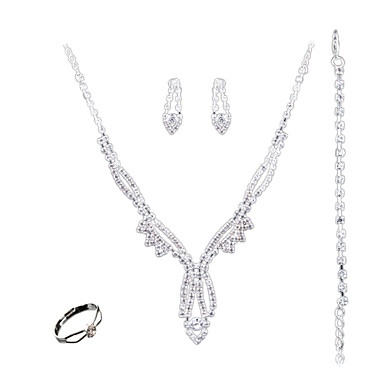 Zestawy biżuterii Modny euroamerykańskiej Biżuteria White 1 Naszyjnik 1 parę kolczyków 1 Bransoletka Rings NaŚlub Impreza Codzienny
