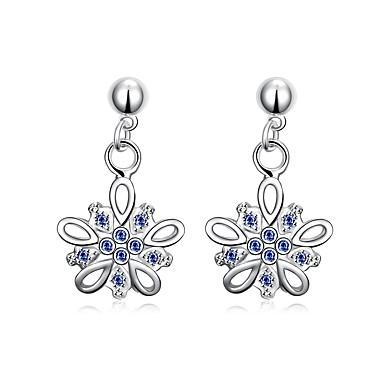Damskie Dla dziewczynek Kolczyki wiszące Kryształ Kwiat Wiszący Kwiaty Posrebrzany Flower Shape Bowknot Shape Łezki Biżuteria Na Ślub