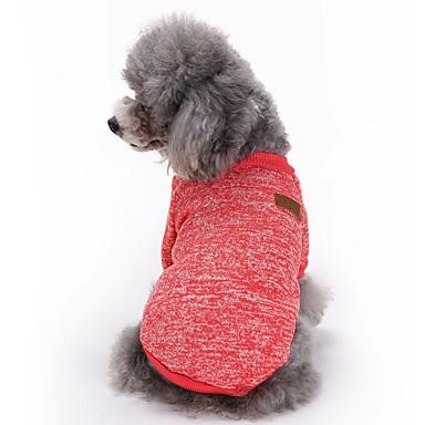 Pisici Câini Haine Tricou Îmbrăcăminte Câini Iarnă Primăvara/toamnă Solid Drăguț Modă Sporturi Rosu Verde Albastru Roz Albastru Deschis