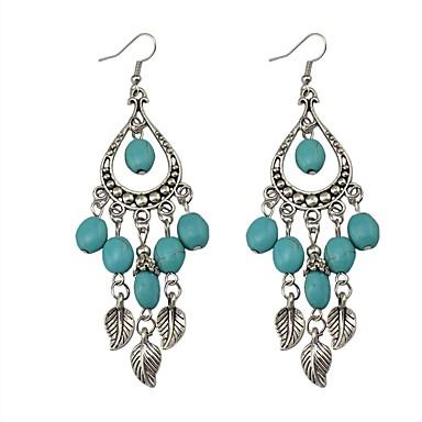 Damla Küpeler Mücevher Eşsiz Tasarım Bohemia Stili Reçine alaşım Leaf Shape Mavi Mücevher Için Parti Özel Anlar Günlük 1 çift