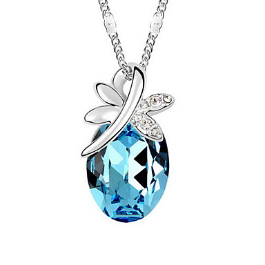 للمرأة قلائد الحلي كريستال Oval Shape كروم ترف اسلوب لطيف مجوهرات من أجل زفاف الذكرى السنوية تخرج