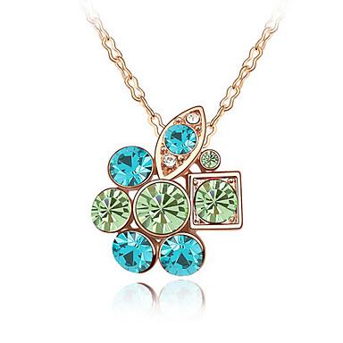 Kadın's Uçlu Kolyeler Kristal Flower Shape Temel Mücevher Uyumluluk Parti Doğumgünü