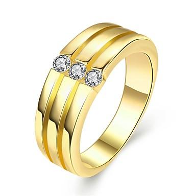 Kadın's Yüzük Altın Gümüş Gül Altın gül Zirkon Bakır Titanyum Çelik Gümüş Kaplama Yuvarlak Geometric Shape Kişiselleştirilmiş Eşsiz