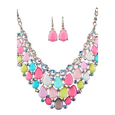 Dame Seturi de bijuterii Ștras La modă Euramerican bijuterii de lux Diamante Artificiale Aliaj Bijuterii Coliere Σκουλαρίκια Pentru Nuntă