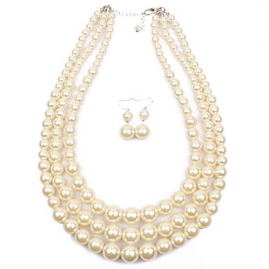 Σετ Κοσμημάτων Euramerican Μαργαριτάρι Circle Shape Χρυσό Λευκό Γκρίζο Κόκκινο 1 Κολιέ 1 Ζευγάρι σκουλαρίκια ΓιαΓάμου Πάρτι Ειδική