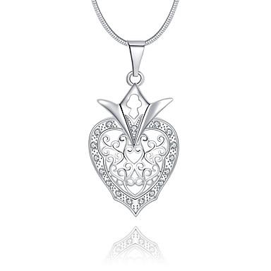 Damskie Serce Luksusowy Unikalny Logo Wiszący Miłość Naszyjniki z wisiorkami Kryształ Srebro standardowe Kryształ Imitacja diamentu