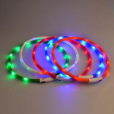 كلب ياقة أضواء LED الأمان سادة مطاط أرجواني أصفر أحمر أزرق زهري