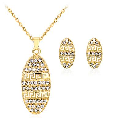 للمرأة حجر الراين مطلية بالذهب مجموعة مجوهرات 1 قلادة 1 زوج من الأقراط - كلاسيكي موضة بيضوي ذهبي مجموعة مجوهرات من أجل حزب هدية يوميا
