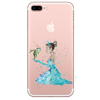 Pouzdro Uyumluluk Apple iPhone 7 Plus iPhone 7 Şeffaf Temalı Arka Kapak Karton Yumuşak TPU için iPhone 7 Plus iPhone 7 iPhone 6s Plus