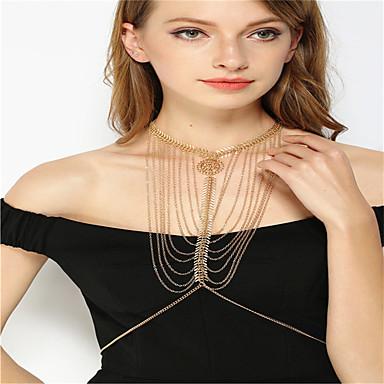 Kadın Vücut Mücevheri Vücut Zinciri / Belly Chain Moda alaşım Altın Gümüş Mücevher Için Parti Günlük 1pc