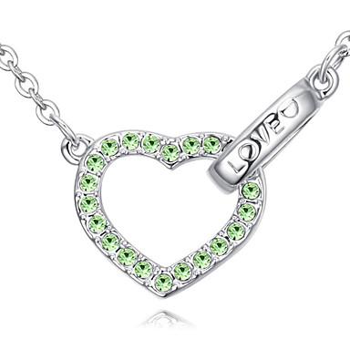 Damskie Naszyjniki z wisiorkami Kryształ Heart Shape Miłość White Rainbow Różowy Light Blue Light Green Biżuteria Na Codzienny 1szt