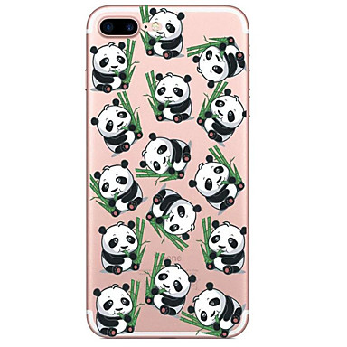 Kılıf Na Apple iPhone 7 Plus iPhone 7 Przezroczyste Wzór Czarne etui Panda Rysunek Miękkie TPU na iPhone 7 Plus iPhone 7 iPhone 6s Plus