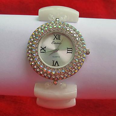Damskie Modny Sztuczny Diamant Zegarek Kwarcowy Nefrytowy Pasmo Biały White